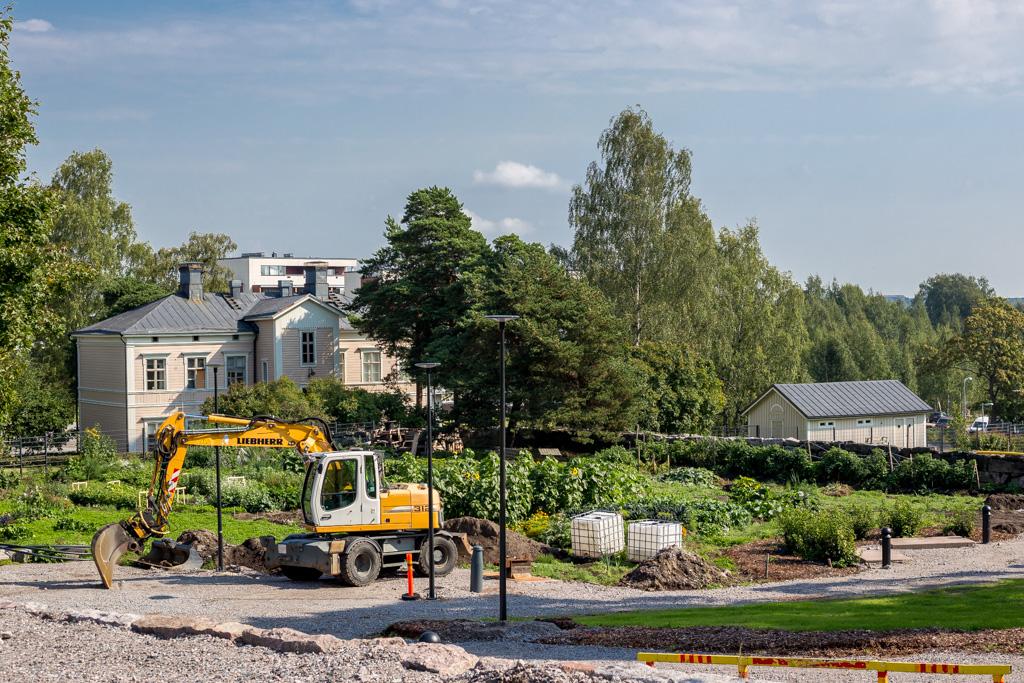 Hermanninpuisto kesällä 2016 remontin aikaan