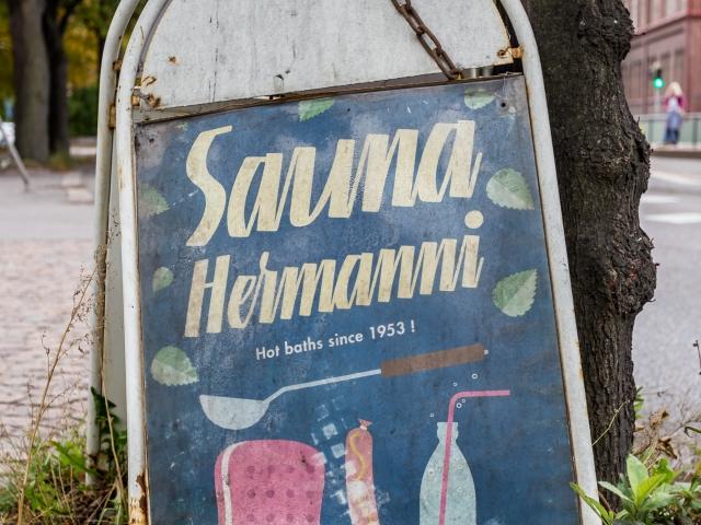 Sauna Hermannin kyltti, Hämeentie 63